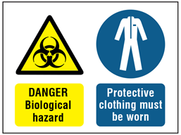 Danger biological hazard, protective clothing must be worn safety sign.