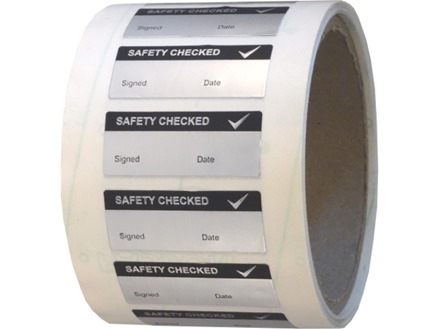 Safety checked aluminium foil labels.