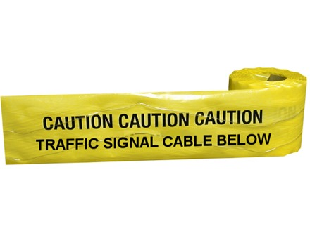 Caution traffic signal cable below tape.