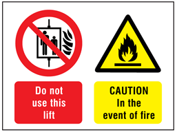 Do not use this lift, Caution in the event of fire safety sign.