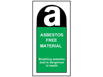 Asbestos free safety label.