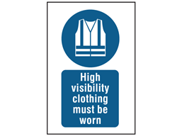 High visibility clothing must be worn symbol and text safety sign.