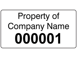 Assetmark+ serial number label (black text), 19mm x 38mm
