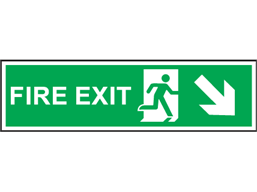 Fire exit arrow diagonal down-right symbol and text safety sign.