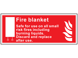 Fire blanket, Safe for use on all small risk fires including burning liquids symbol and text safety sign.