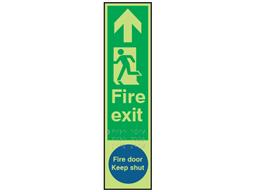 Fire exit, running man left, fire door keep shut fingerplate photoluminescent sign.