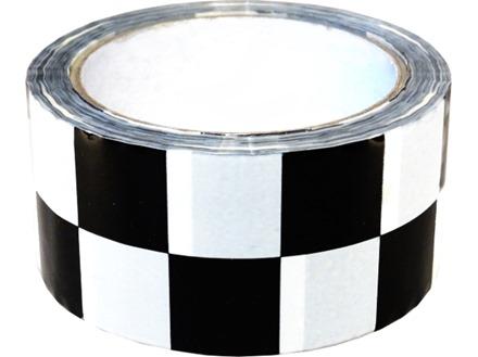 Laminated warning tape, black and white check.