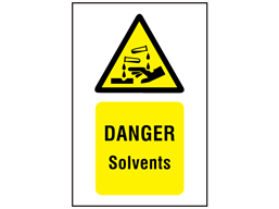 Danger solvents symbol and text safety sign.