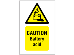 Caution battery acid symbol and text safety sign.
