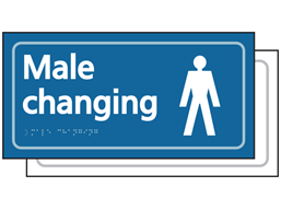 Male changing room sign.