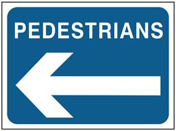 Pedestrian, arrow left temporary road sign.