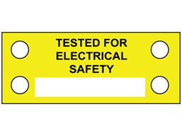 Tested for electrical safety cable tie tag.