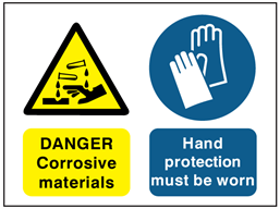 Danger Corrosive materials, Hand protection must be worn safety sign.