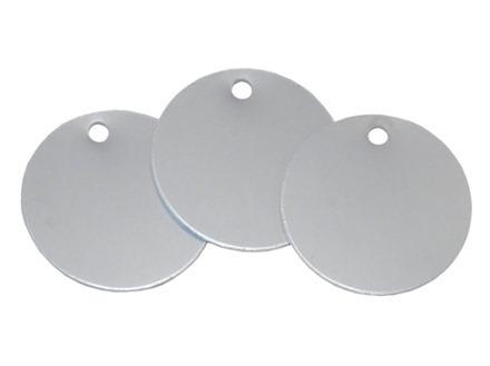 Blank anodised aluminium circular metal tags.