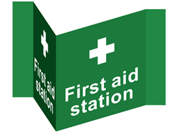 First aid projecting safety sign.