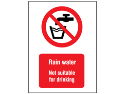 Rain water not suitable for drinking symbol and text safety sign.