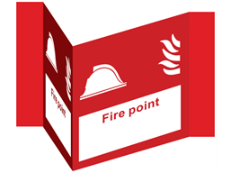 Fire point projecting safety sign.