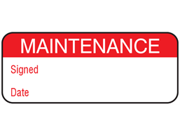 Maintenance label.