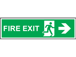 Fire exit arrow right symbol and text safety sign.