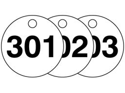 Plastic valve tags, numbered 301-325