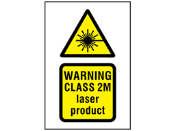Warning Class 2M laser product symbol and text safety sign.