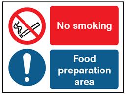 No smoking, food preparation area safety sign.
