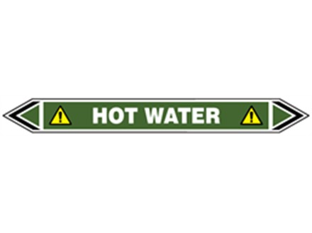 Hot water flow marker label.