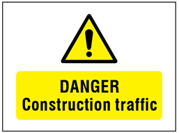 Danger Construction traffic symbol and text safety sign.