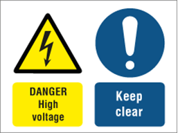 Danger High voltage, Keep clear safety sign.