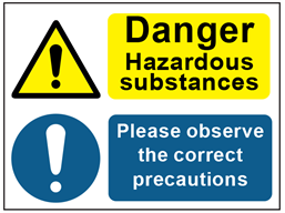 COSHH. Dangerous hazard substances, correct precautions sign.