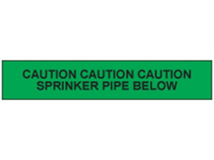 Caution sprinkler pipe below tape.