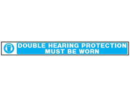 Double hearing protection must be worn barrier tape