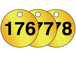 Brass valve tags, numbered 176-200