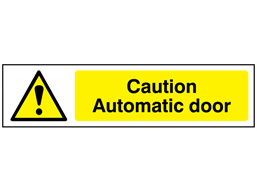 Caution Automatic door, mini safety sign.