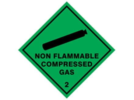 Non flammable compressed gas, class 2, hazard diamond label