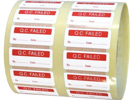 Q.C. Failed label.