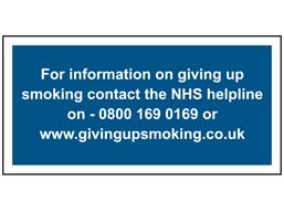NHS smoking helpline sign