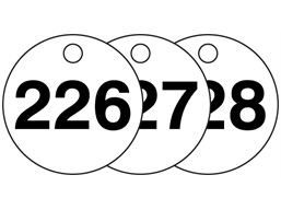 Plastic valve tags, numbered 226-250