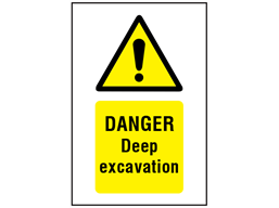 Danger, Deep excavation symbol and text safety sign.