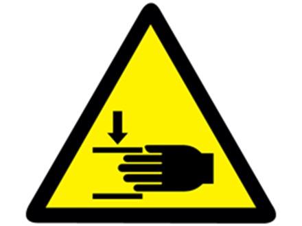 Finger trap symbol warning labels.