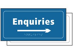 Enquiries, arrow right sign.