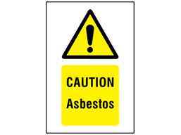 Caution asbestos symbol and text safety sign.