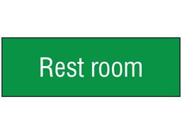 Rest room, engraved sign.