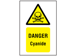 Danger cyanide symbol and text safety sign.