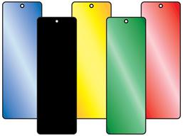 Coloured aluminium tags, 25mm x 75mm.