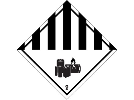 Lithium battery hazard diamond label