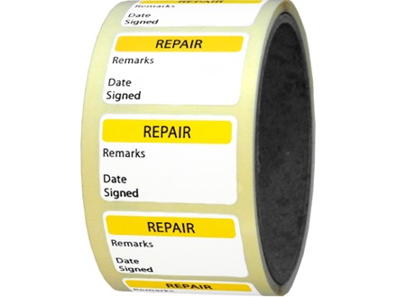 Repair quality assurance label