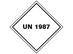 UN 1987 (Alcohols, etanol, methanol, isopropanol) label.