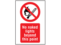No naked lights beyond this point symbol and text safety sign.