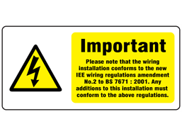Single phase alteration or extension BS 7671 label